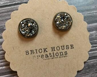 Dark Silver Druzy earrings 12mm
