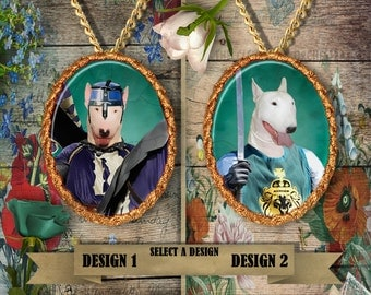 Bull Terrier Jewelry. Bull Terrier  Pendant or Brooch. Bull Terrier  Necklace. Bull Terrier Portrait. Custom Dog Jewelry by Nobility Dogs.