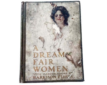 A Dream of Fair Women by Harrison Fisher 1907 Antique Poetry Book Beautiful Edwardian Women Illustrations Mary Louise Stevick