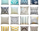 CLEARANCE Throw Pillows, Decorative Pillow Cover, Toss Pillow, 18x18 Zippered Pillow, Accent Pillow, Grey Pillow, Yellow Pillow, Navy Pillow
