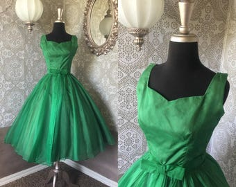 Vintage 1950's Emerald Green Cocktail Dress S/XS