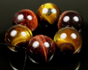 Red and Golden Tiger Eye  Large Round Bead - 14mm - 6 beads - B5806