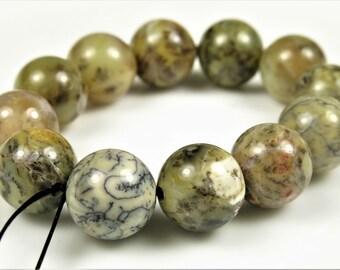 Rare Australian Dendritic Moss Opalite Round Bead - 10mm - 12 beads - B5999
