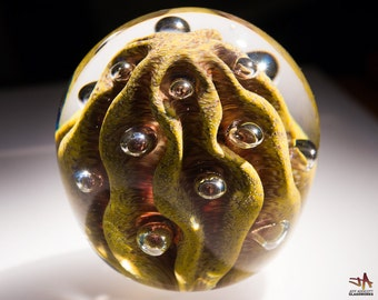 Blown Glass Paperweight - Sandy Savannah and Ruby with Contours and Bubbles