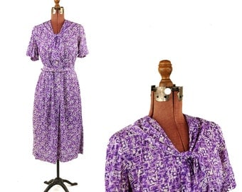 Vintage 1950's Purple + White Abstract Novelty Print Pin Up Mid Century Nylon Plus Size Day Dress XXL