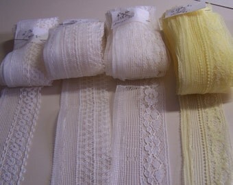 Lot of 4 Assortment of Vintage Lace Trim or Seam Tape