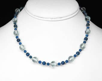 """London Blue Topaz and Blue Apatite Necklace in Silver, 15.5"""""""