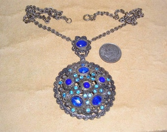 Vintage Signed  New England Glass Work Necklace With Blue Rhinestones 1920's Jewelry 2246