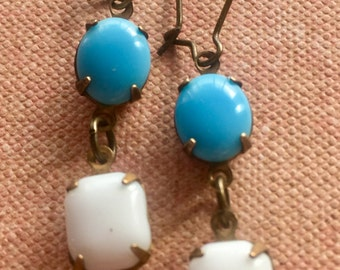 Jewelry, Earrings, Art Deco Earrings, Blue and White Earrings, Dangle and Drop Earrings, Vintage Earrings, Earrings for Women