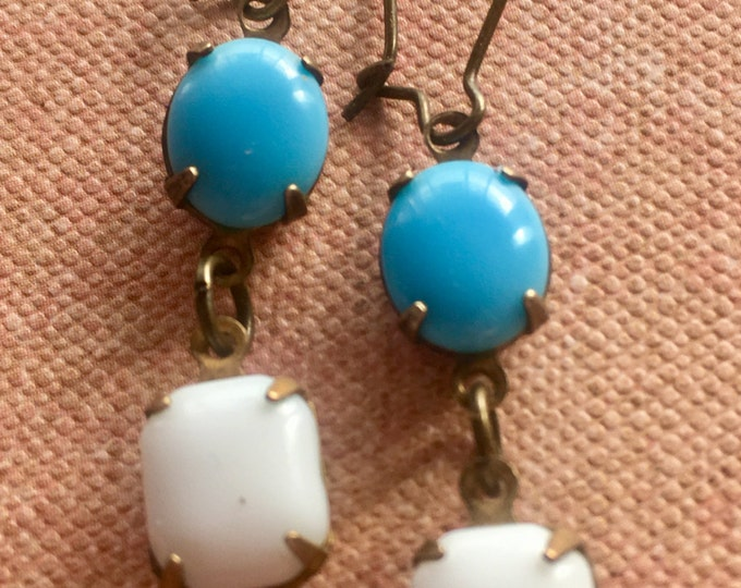 Jewelry Earrings, Art Deco Earrings, Blue and White Earrings, Dangle and Drop Earrings
