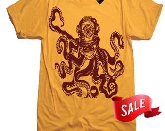 Mens X-LARGE Sale - Octopus Diver Helmet Tee Shirt - Deep Sea Diver T Shirt - Diver Shirt - Valentines Day Gift Ideas Novelty Present - Xl