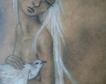 The Familiars~ Art Print mermaid with dove