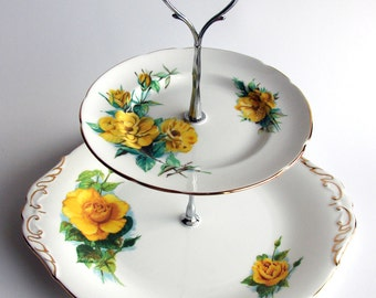 YELLOW ROSE Of Texas, 2 tier Cake Stand, Recycled vintage plates Jewellery Cupcake display Gift for women girl bride, white, yellow, gold