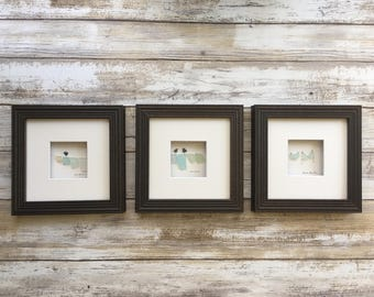Set of three  5 by 5 clothesline seaglass pictures by sharon nowlan custom made per order