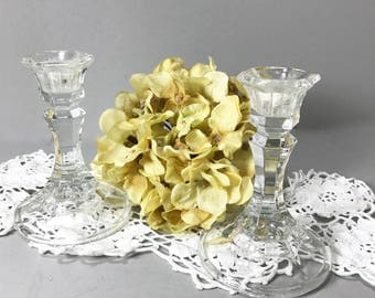 """Pair of Cut Glass Candlestick Holders, 4"""" TallTaper Candle Holders, Clear Glass Candle Holders Vintage Candle Holders, Taper Candle Holders"""