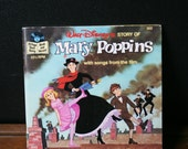 Vintage Walt Disney's Mary Poppins Read Along Story and Record, Vintage Children's Record with Disney Picturebook