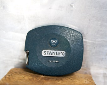 Vintage Stanley Tape Measure   Blue   50 Feet  Made in USA