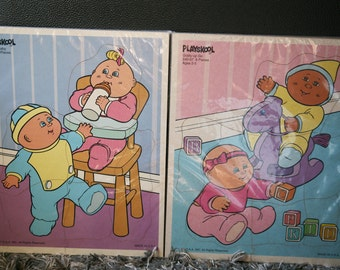 Vintage Cabbage Patch Puzzles / Playskool 1991 / Chunky Puzzles / Vintage Jigsaw Puzzle / Toddler Puzzles / Made in USA