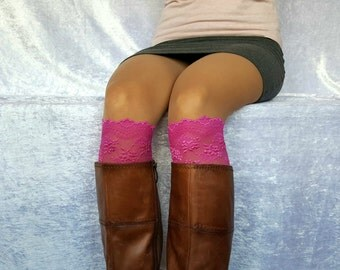 PINK BOOT CUFFS Fall Winter Accessories Lace Accessories Lace Boot Socks Lace Boot Toppers Boho Cuffs Wide Boots Cover Leg Warmer Boot Socks