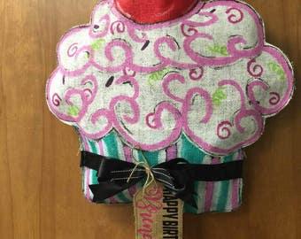 Burlap Cupcake Door Hanging Wreath