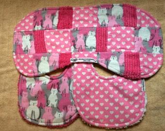 bitsybasics pink cats and hearts bib and burp cloth set