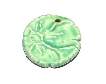 Ceramic Flower Pendant Handmade Aqua