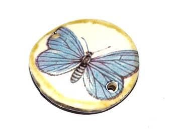 Ceramic Bracelet Bar Butterfly Floral Handmade Stoneware Pottery