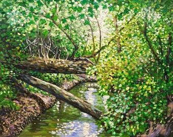 Original Impressionist style Impasto oil painting 16x20 'The Natural Bridge'