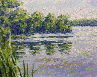 "Original Impressionist Style Impasto Oil Landscape 11x14 ""Lazy Hazy Days"""