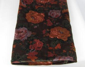 Floral Velvet, Dark Brown Velvet Fabric, Vintage, Dusty Lavender, Dark Peach