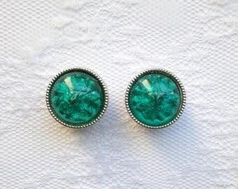 "Silver and Teal Color Gem Button Vintage Fancy Wedding Pair Plugs Gauges Size: 5/8"" (16mm)"