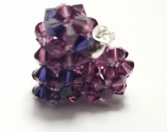 Mixed Purple Swarovski Crystal Beaded Heart