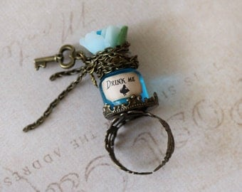 Alice in Wonderland Ring - Eat Me Drink Me Ring -Tea Party Ring-Key Jewelry-fairy Tale Jewelry-Magic Potion Jewelry-kawaii ring-gift for her