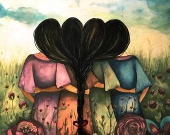 The four sisters black hair best friends brisdemaid present  art print