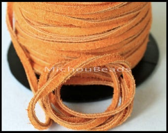 DESTASH Sale 5 Yards Genuine SUEDE Cord - Light RUST 15 feet  3x1.8mm Distressed Split Suede Leather Natural Dye Color Lace Cord by the Yard