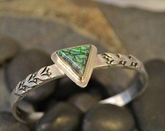 Sterling Opal cuff bracelet with 14k gold bezel.