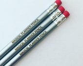 magical planner pencils, set of three engraved pencils for your organized lifestyle and most magnificent manifestations