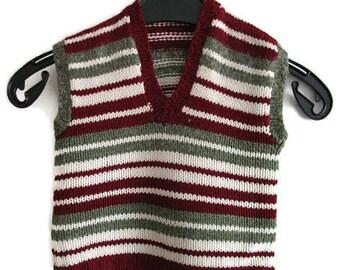 Vintage baby sweater vest, striped baby knit vest, baby shower gift, 18 months baby vest, Burgundy baby vest, baby boys vest, knit sweater