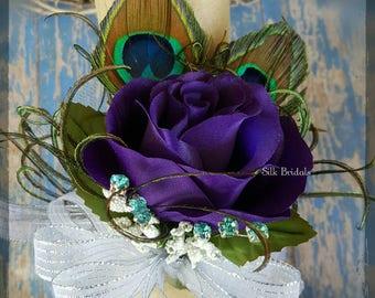 Purple PEACOCK feather wrist corsage rose bridal bride silk keepsake wedding flowers mother prom