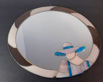"""Vintage Mid Century Modern Stained Glass Wall Mirror, 16"""" in Diameter"""