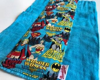 Wonder Woman, Batgirl, Super Girl, Turquoise Burp Cloth