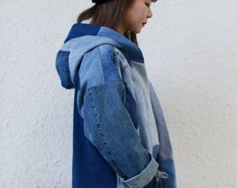 Hooded Blue Denim Patchwork Kimono