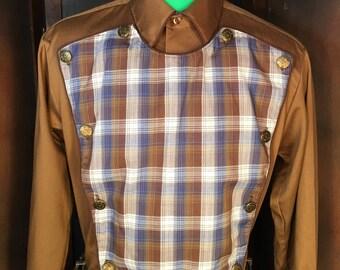Vintage Mens Calvary Western Shirt KARMAN Made In The USA 16/35 Rodeo Cowboy
