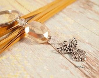 Angel Charm Keychain, Elegant Beaded KeyChain. Gift for Her, Decorative Key Chains, Chunky Beaded Keychain OOAK Handmade Key Ring.