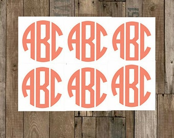 """Vinyl Monogram Decal Set, 4,6,8,10–.5"""",.75"""",1""""-1/2"""",3/4""""-Small/Mini Decal–Yeti Decal–Laptop Decal-Personalized-60+Additional Colors Choices"""