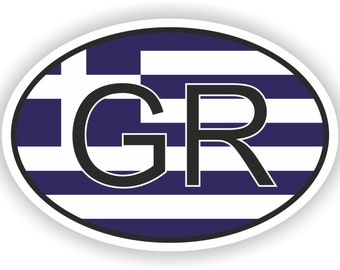 Greece GR Country Code Oval Sticker with Flag for Bumper Laptop Book Fridge Motorcycle Helmet ToolBox Door Hard Hat Tool Box Locker Truck