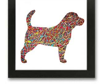 Beagle Abstract Art Print Pollock Style Painting