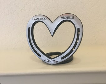 Standing heart, personalized horseshoe, steel or iron 6th wedding anniversary, sixth anniversary, Equestrian wife gift.