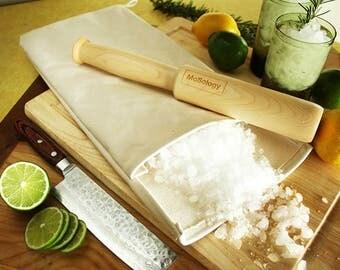 Lewis Bag w Loop and Muddler Mallet Gift Set- For crushing ice and muddling drinks