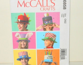 McCalls Crafts Six Event/Party Hats 2013 New UNCUT Sizes S-XL Pattern Number M6858 Sewing Fun Hats - Sewing Supplies - DIY Sewing